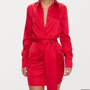 Red ruched front dress